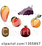 Clipart Of A Cartoon Mango Grapes Peach Apricot Pomegranate And Kiwi Royalty Free Vector Illustration by Vector Tradition SM