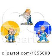 Clipart Of Cartoon White Construction Workers Royalty Free Vector Illustration