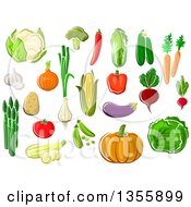 Clipart Of Cartoon Produce Vegetables Royalty Free Vector Illustration by Vector Tradition SM