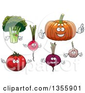 Clipart Of Cartoon Broccoli Radish Pumpkin Beet Garlic And Tomato Characters Royalty Free Vector Illustration