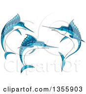 Clipart Of Jumping Blue Marlin Fish Royalty Free Vector Illustration