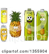 Clipart Of A Goofy Pineapple And Juice Characters Royalty Free Vector Illustration