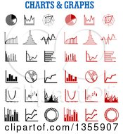 Clipart Of Black And White And Red Chart And Graph Icons Royalty Free Vector Illustration by Vector Tradition SM