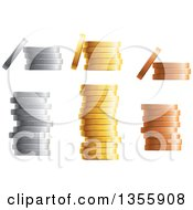 Clipart Of 3d Stacks Of Silver Gold And Bronze Coins Royalty Free Vector Illustration by Vector Tradition SM