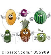 Clipart Of Cartoon Cantaloupe Plum Watermelon Green Apple Pineapple And Avocado Characters Royalty Free Vector Illustration by Vector Tradition SM