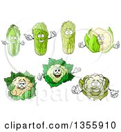 Clipart Of Cartoon Cabbage And Cauliflower Characters Royalty Free Vector Illustration