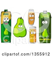 Clipart Of Green Pear And Juice Characters Royalty Free Vector Illustration