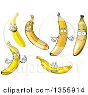 Clipart Of Cartoon Banana Characters Royalty Free Vector Illustration