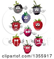 Clipart Of Cartoon Blackberry And Raspberry Characters Royalty Free Vector Illustration