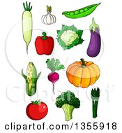 Clipart Of Cartoon Produce Vegetables Royalty Free Vector Illustration