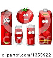Clipart Of A Happy Red Tomato Character And Juice Royalty Free Vector Illustration by Vector Tradition SM