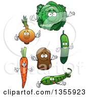 Clipart Of Cartoon Carrot Pea Cucumber Potato Yellow Onion And Cabbage Characters Royalty Free Vector Illustration