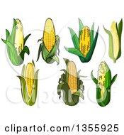 Clipart Of Cartoon Corn Royalty Free Vector Illustration
