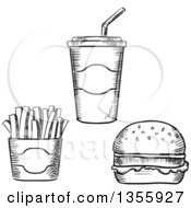 Clipart Of A Black And White Sketched Fountain Soda French Fries And Hamburger Royalty Free Vector Illustration