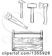 Clipart Of A Black And White Sketched Tool Box Axe Mallet And Saw Royalty Free Vector Illustration by Vector Tradition SM