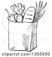 Clipart Of A Black And White Sketched Bag Of Groceries Royalty Free Vector Illustration