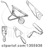Clipart Of A Black And White Sketched Wheelbarrow Saw Paint Roller Trowel And Paintbrush Royalty Free Vector Illustration