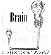 Clipart Of A Black And White Sketched Brain Light Bulb Plug And Text Royalty Free Vector Illustration by Seamartini Graphics