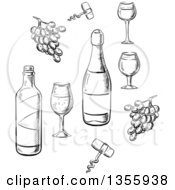 Clipart Of Black And White Sketched Wine Bottles Glasses And Grapes Royalty Free Vector Illustration by Vector Tradition SM