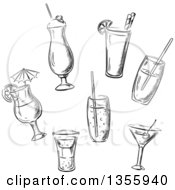 Clipart Of Black And White Sketched Cocktails Royalty Free Vector Illustration by Vector Tradition SM