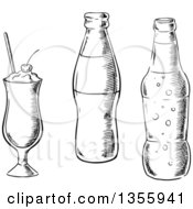 Clipart Of A Black And White Sketched Milkshake And Soda Bottles Royalty Free Vector Illustration by Vector Tradition SM