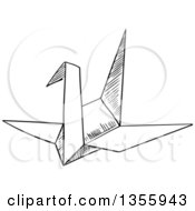 Clipart Of A Black And White Sketched Origami Crane Royalty Free Vector Illustration