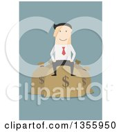 Clipart Of A Flat Design White Businessman Sitting On Money Bags On Blue Royalty Free Vector Illustration by Vector Tradition SM