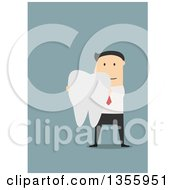 Flat Design White Businessman Holding A Tooth On Blue