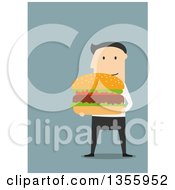 Clipart Of A Flat Design White Businessman Holding A Giant Hamburger On Blue Royalty Free Vector Illustration