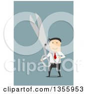 Clipart Of A Flat Design White Businessman Holding Giant Scissors On Blue Royalty Free Vector Illustration