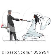 Clipart Of A Black Wedding Couple Dancing Royalty Free Vector Illustration by Seamartini Graphics