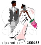 Clipart Of A Black Wedding Couple Walking Arm In Arm Royalty Free Vector Illustration by Seamartini Graphics