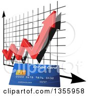 Clipart Of A 3d Red Arrow And Chart Over A Credit Card Royalty Free Vector Illustration