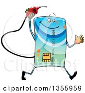 Cartoon Credit Card Character Running With A Gas Nozzle