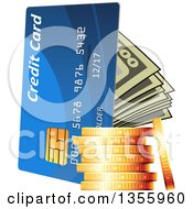 Clipart Of A 3d Stack Of Gold Coins Cash Money And A Credit Card Royalty Free Vector Illustration