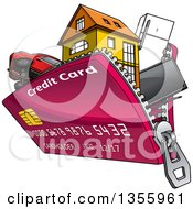 Clipart Of A Cartoon Credit Card Purse Unzipping With Electronics Appliances A House And Car Royalty Free Vector Illustration