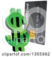 Clipart Of A 3d Green Dollar Currency Symbol And Credit Card Royalty Free Vector Illustration