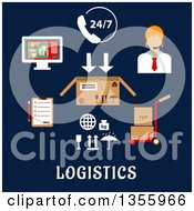 Clipart Of A Flat Design Call Operator And Logistics Shipping Items Over Text On Dark Blue Royalty Free Vector Illustration by Vector Tradition SM