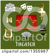 Clipart Of Flat Design Theater Icons Over Text On Green Royalty Free Vector Illustration by Vector Tradition SM