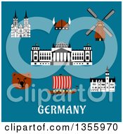 Clipart Of A Flat Design Bear Reichstag Building Gothic Cathedral And Castle Windmill Viking Helmet With Horns And Longship Drakkar Over Germany Text On Blue Royalty Free Vector Illustration