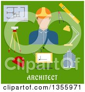 Clipart Of A Flat Design Architect Drawing Table Blueprint Compasses Protractor Lamp Ruler Building And Automatic Level On Tripod Over Text On Green Royalty Free Vector Illustration by Vector Tradition SM