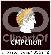 Clipart Of A Flat Design Julius Caesar In Wreath Over Text Royalty Free Vector Illustration by Vector Tradition SM