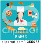 Clipart Of A Flat Design Female Baker And Goods Over Text On Blue Royalty Free Vector Illustration