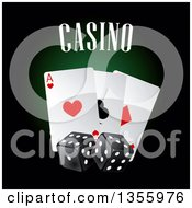 Clipart Of A Casino Design With Playing Cards And Dice Royalty Free Vector Illustration