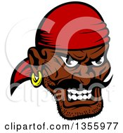 Clipart Of A Cartoon Tough Black Male Pirate Wearing A Red Bandanana Royalty Free Vector Illustration by Seamartini Graphics