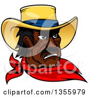 Clipart Of A Black Male Cowboy Wearing A Red Bandana Royalty Free Vector Illustration