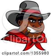 Clipart Of A Black Male Cowboy Wearing A Red Bandana And Smoking A Cigar Royalty Free Vector Illustration