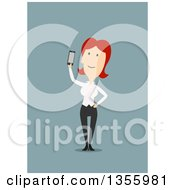 Clipart Of A Flat Design Red Haired White Business Woman Holding Up A Smart Phone On Blue Royalty Free Vector Illustration by Vector Tradition SM