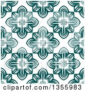 Clipart Of A Seamless Retro Geometric Teal Flower Pattern Royalty Free Vector Illustration by Vector Tradition SM