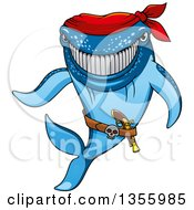 Clipart Of A Cartoon Grinning Blue Pirate Shark Wearing A Bandana Royalty Free Vector Illustration